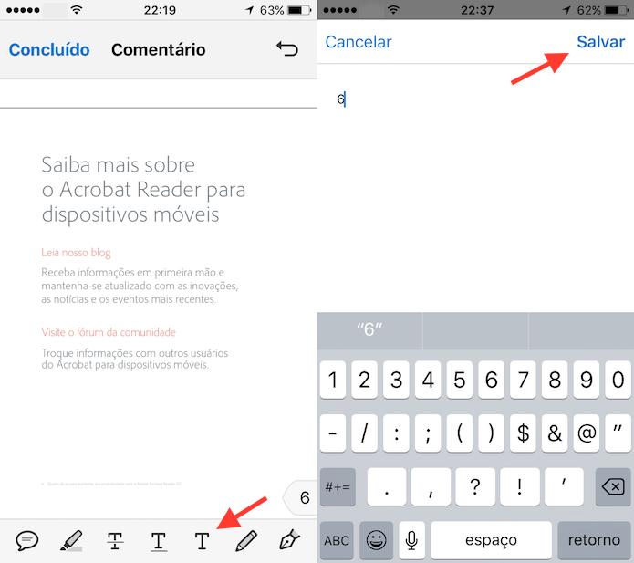 Ferramenta de escrita do Adobe Reader para iPhone (Foto: Reprodução/Marvin Costa)