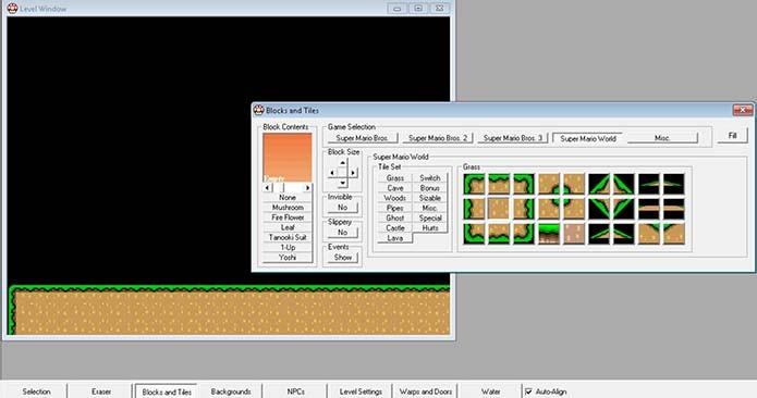 Adicione blocos e terrenos no Super Mario X (Foto: Reprodução/Murilo Molina)