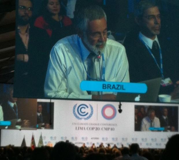 José Antonio Marcondes fala durante a plenária final da COP , em Lima (Foto: Eduardo Carvalho/G1)