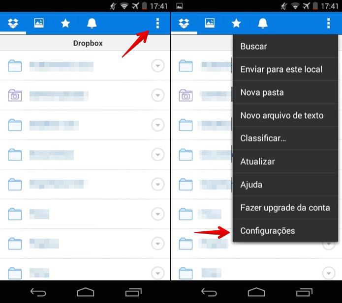 Acesse as configurações do Dropbox (Foto: Reprodução/Helito Bijora)
