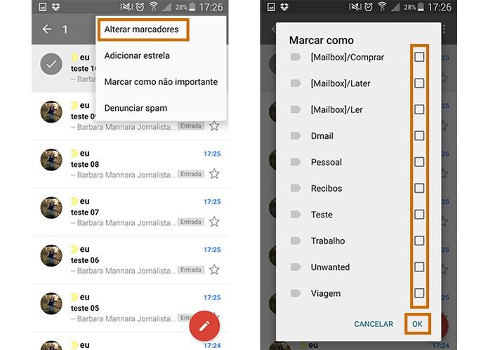 Selecione marcadores para organizar e-mails no app do Gmail para Android (Foto: Reprodução/Barbara Mannara)