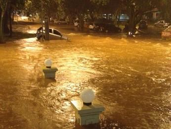 Rua em quadra da Asa Norte fica completamente alagada após temporal (Foto: André Alves/Arquivo Pessoal)