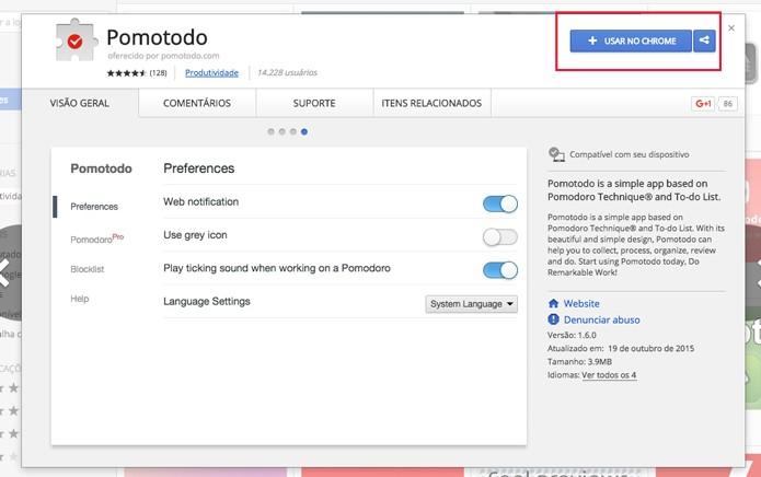 Agora basta clicar no botão para instalar a extensão (Foto: Reprodução/André Sugai)