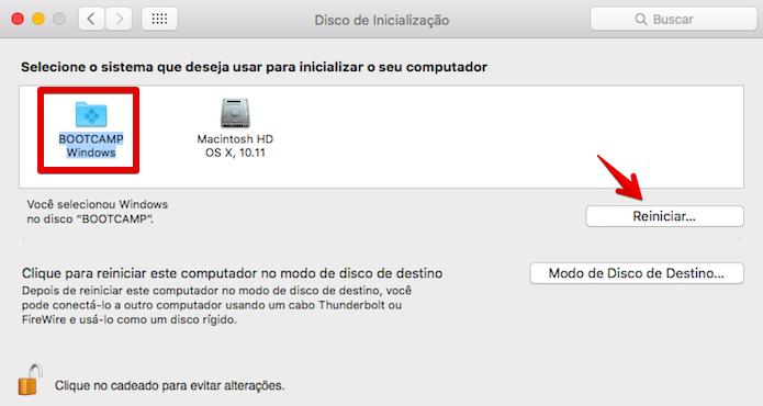 Reiniciando o Mac no Windows 10 (Foto: Reprodução/Helito Bijora)