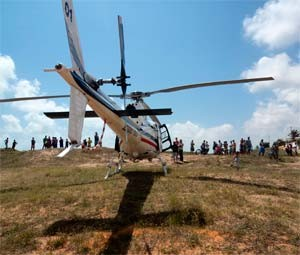 Aeronave encontrou o corpo na praia de Touros (Foto: Cedida/Sesed/RN)