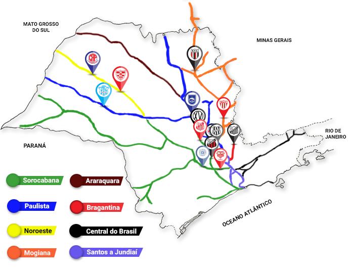 Mapa clubes ferrovias (Foto: Eduardo Teixeira/GloboEsporte.com)