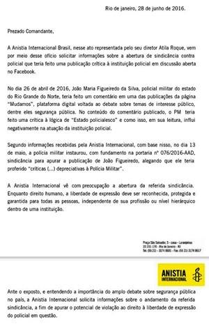 Anistia Internacional pede explicação sobre a abertura da sindicância contra o soldado Figueiredo  (Foto: Reprodução/G1)