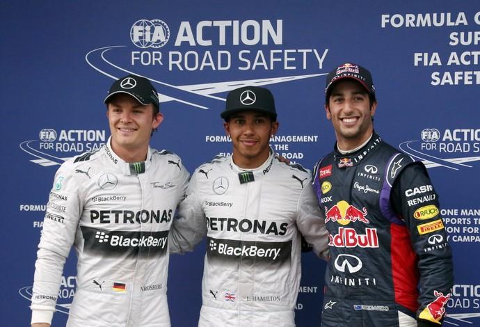 Daniel Ricciardo impediu a dobradinha da Mercedes e ofuscou a pole de Lewis Hamilton (Foto: Reuters)