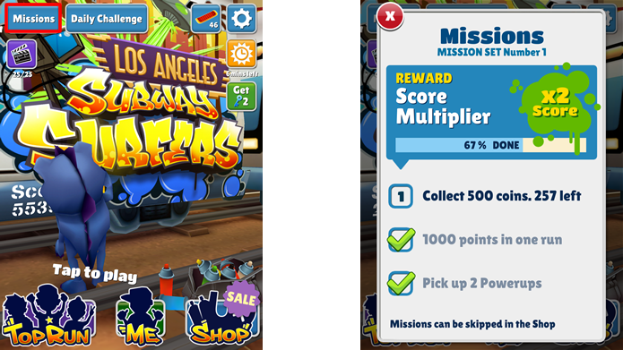 """Aperte em """"Missions"""" para conferir as tarefas de cada estágio do game (Foto: Daniel Ribeiro / TechTudo)"""