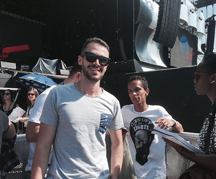 Rodrigo foi o primeiro a entrar na Cidade do Rock (Foto: Gshow)