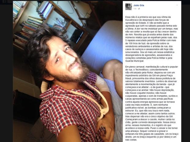 Editor de vídeos postou desabafo em redes sociais (Foto: Reprodução/Facebook)