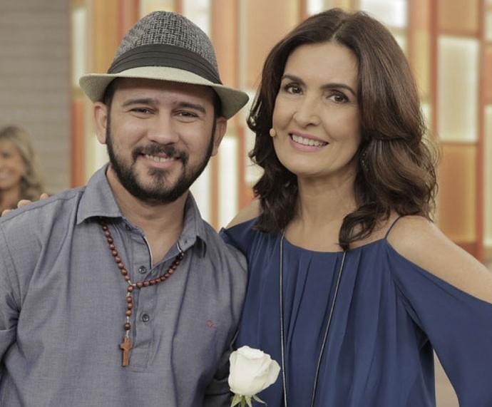Bráulio Bessa com a Fátima depois do 'Encontro' (Foto: Ellen Soares/Gshow)