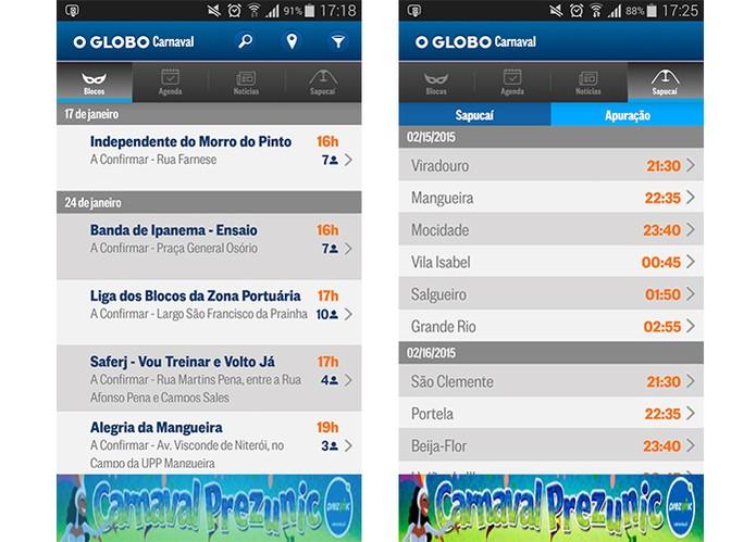 Carnaval 2015 O Globo mostra todas as informações sobre o evento, horários dos blocos e mais (Foto: Divulgação/Google Play)