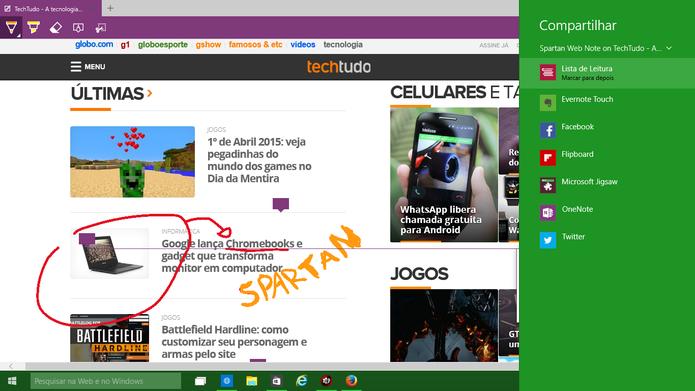 Spartan oferece compartilhamento de anotações com aplicativos instalados no Windows 10 (Foto: Reprodução/Elson de Souza)