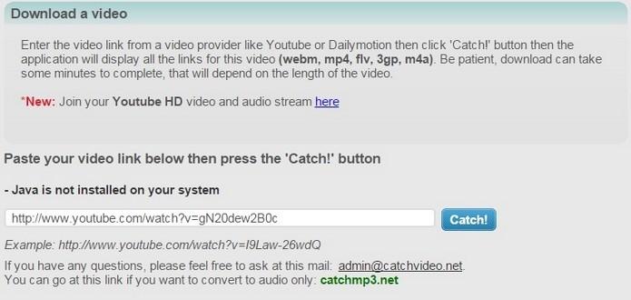 CatchVideo, plataforma online que baixa vídeos do YouTube (Foto: Reprodução/Raquel Freire)