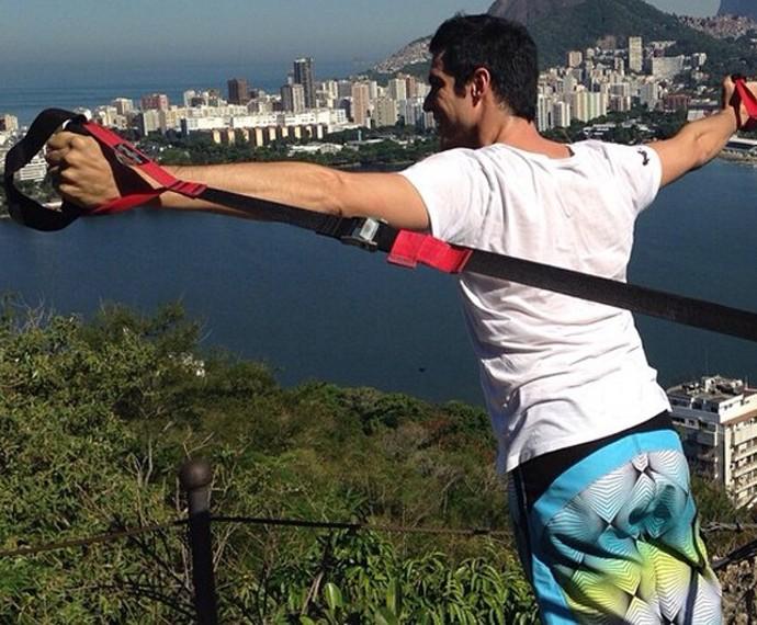 Mateus Solano se exercita no Rio de Janeiro (Foto: Arquivo Pessoal)