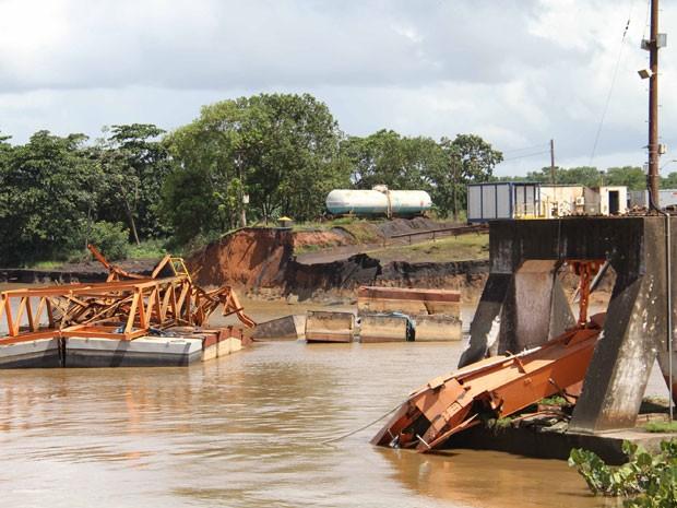 Área do porto em Santana, onde houve o desabamento (Foto: Agência Amapá de Notícias)