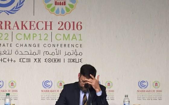 O enviado especial do governo dos EUA para Mudanças Climáticas, Jonathan Pershing, na Conferência do Clima em Marrakesh, Marrocos. Emprego ameaçado? (Foto: Bruno Calixto/ÉPOCA)