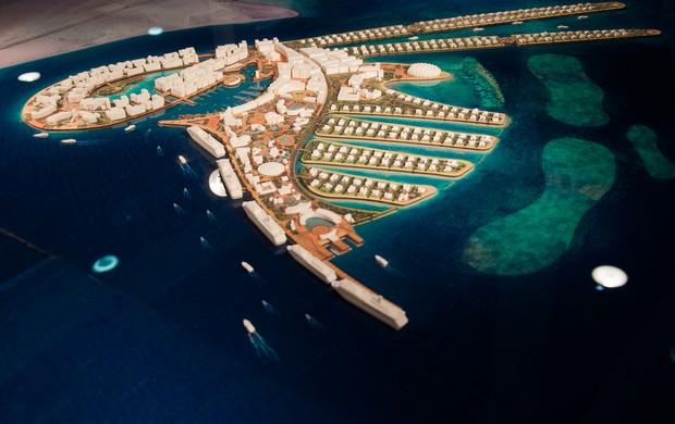 Ilha articial no Qatar para a Copa de 2022 (Foto: Divulgação)