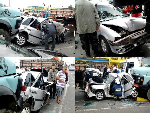 Apesar da gravidade do acidente, ocupantes do carro só sofreram arranhões (Foto: Ewerton Dopiaty)