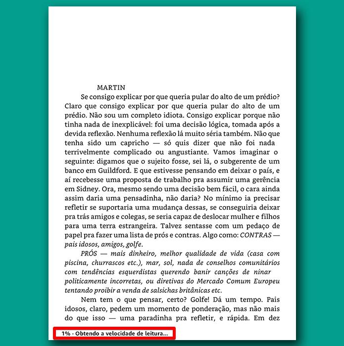 O Kindle vai observar a sua velocidade de leitura para calcular uma nova estimativa (Foto: Reprodução/Filipe Garrett)
