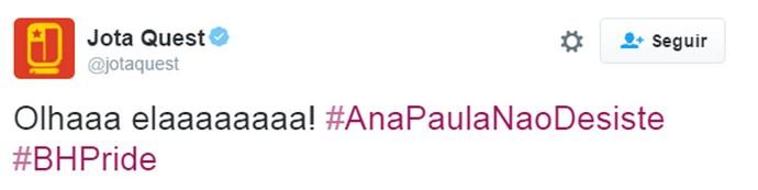 Twitter Ana Paula jota (Foto: Gshow)