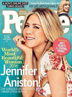 Jennifer Aniston na capa da revista 'People', pela qual foi eleita a mais bonita do mundo (Foto: Reprodução/People)