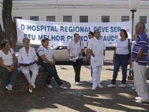 Funcionários do hospital entram em greve nesta quinta-feira (2).  (Foto: reprodução/TV Tem)