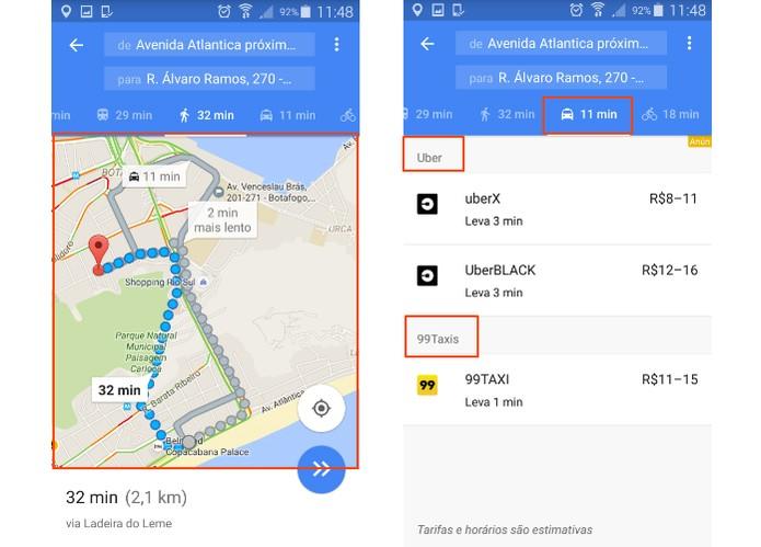 Note que os preços do Uber e Taxi serão exibidos na tela (Foto: Reprodução/Barbara Mannara)