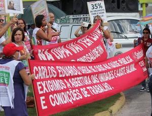 Protesto Tour da Taça Natal (Foto: Fabiano de Oliveira)
