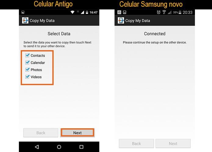 Selecione no celular antigo quais itens deseja enviar para o Samsung (Foto: Reprodução/Barbara Mannara)