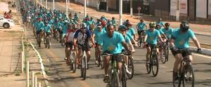 Passeio agita orla da capital maranhense e atrai centenas de ciclistas (Reprodução/TV Mirante)