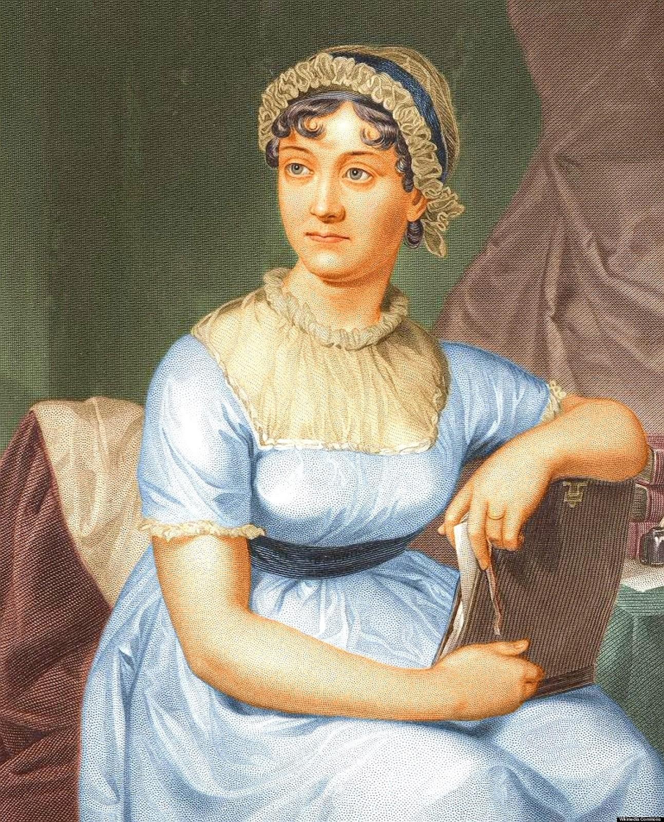 A imagem mais conhecida da escritora foi feita com base na ilustração de Cassandra, e acrescenta um anel à mão de Jane, que nunca se casou (Foto: Divulgação )