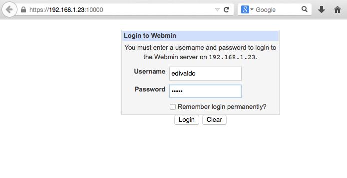 Acessando o Webmin em outro computador via navegador (Foto: Reprodução/Edivaldo Brito)