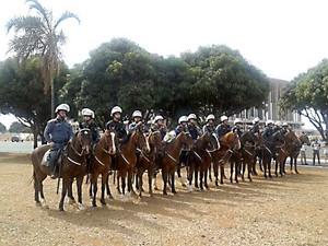 Cavalaria da PM enfileirada em área próxima ao Estádio Mané Garrincha, em Brasília (Foto: Lucas Nanini/G1)