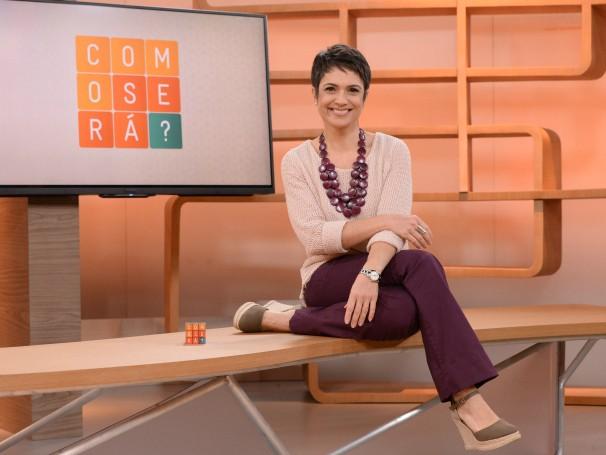 A apresentadora Sandra Annenberg no estúdio onde é gravado o novo programa da grade da Globo, 'Como Será?' (Foto: Divulgação/José Paulo Cardeal)