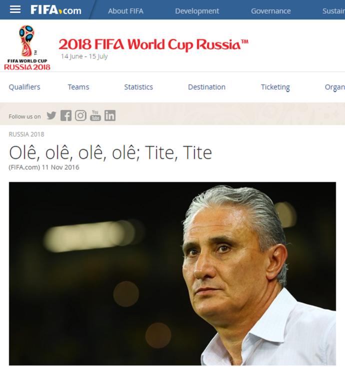 Tite site Fifa (Foto: Reprodução)