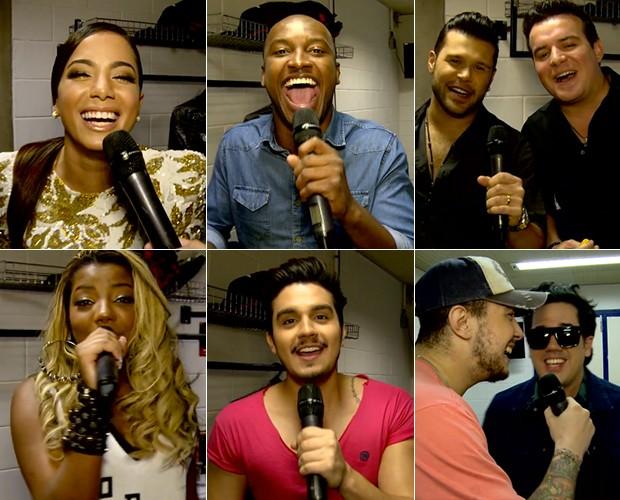 Famosos cantam com gás hélio (Foto: TV Globo)