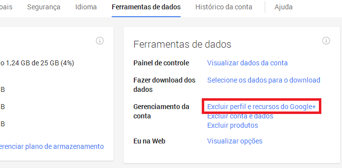 Excluindo perfil do Google+ (Foto: Reprodução/Helito Bijora)