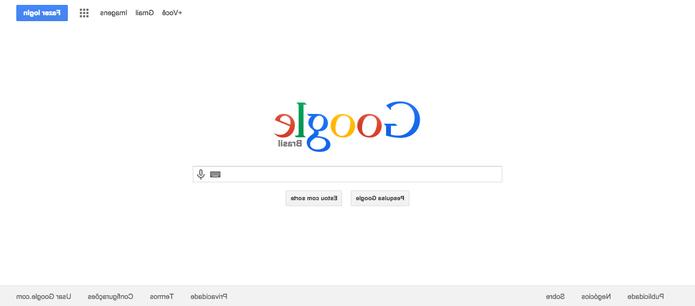 Com botões invertidos, a página do Google confunde os usuários no Dia da Mentira (Foto: Reprodução/Paulo Figueiredo)