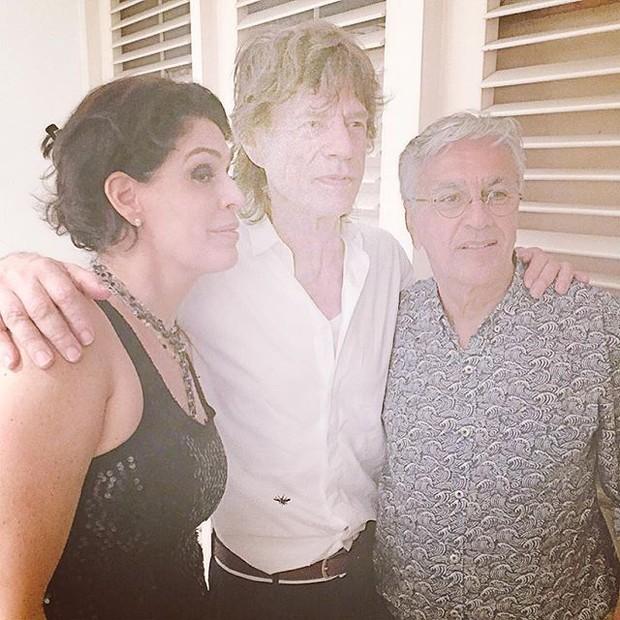 Paula Lavigne, Mick Jagger e Caetano Veloso (Foto: Instagram/ Reprodução)