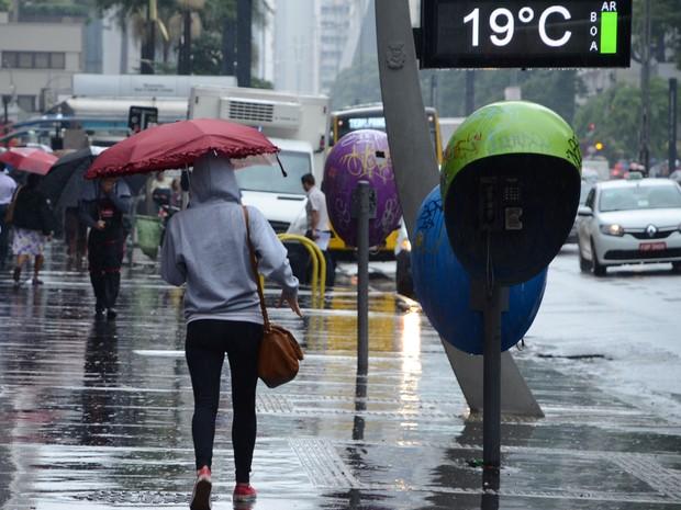 90402521a597 Pedestre se protege da chuva e do frio na Avenida Paulista, em São Paulo (