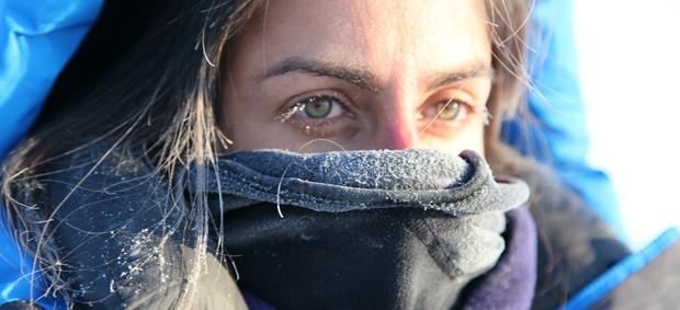 carol barcellos na maratona do polo norte (Foto: equipe Planeta Extremo)