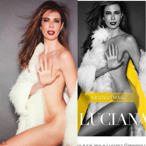 Luciana Gimenez em foto para revista: sem e com Photoshop (Foto: Instagram/ Reprodução)