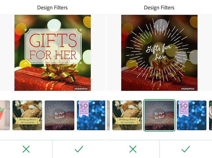 Adobe Post pode ter design do cartão e letras alterados pelo usuario (Foto: Reprodução/Elson de Souza)