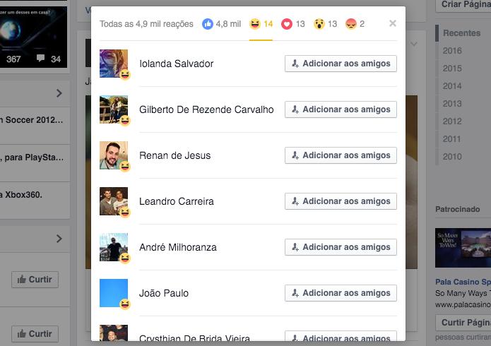 Lista completa de pessoas que interagiram com a publicação (Foto: Reprodução/Helito Bijora)