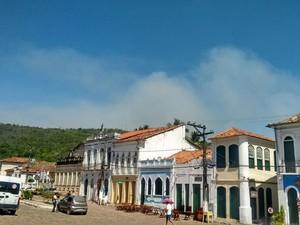 Fumaça é vista da cidade de Lençóis (Foto: Brigada de Resgate Ambiental de Lençóis (Bral))