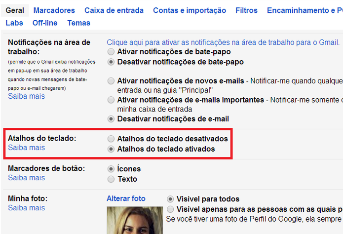 Ativação dos do Gmail (Foto: Reprodução/ Marcela Vaz)