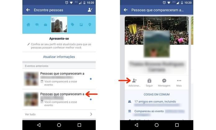 Solicitação de amizade no Facebook a pessoa encontrada por meio de eventos em comum (Foto: Reprodução/Raquel Freire)