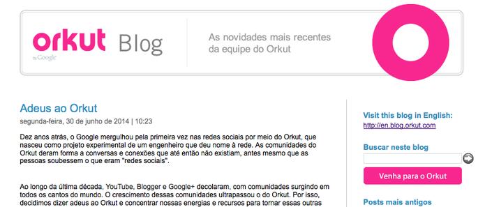 Blog do Orkut (Foto: Reprodução/Google/Orkut)